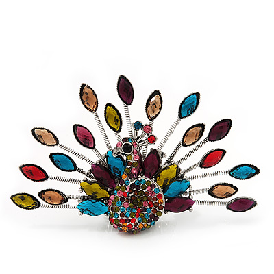 Stunning Multicoloured Swarovski Crystal &#039;Peacock&#039; Flex Ring In Silver Metal - 7.5cm Length (Size 7/8)