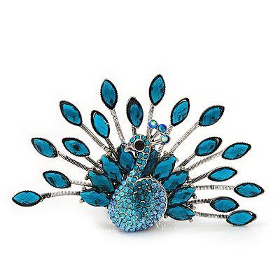 Stunning Turquoise Coloured Swarovski Crystal &#039;Peacock&#039; Flex Ring In Silver Metal - 7.5cm Length (Size 7/8)