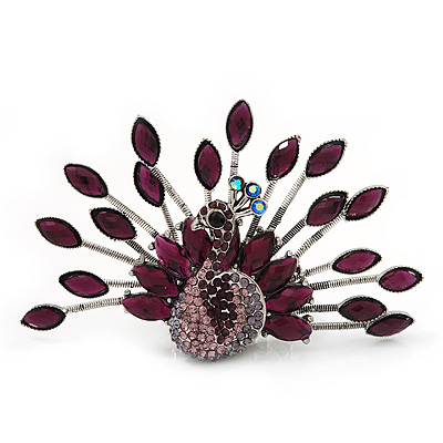 Stunning Deep Purple Swarovski Crystal &#039;Peacock&#039; Flex Ring In Silver Metal - 7.5cm Length (Size 7/8)