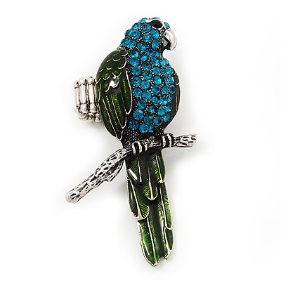 Exotic Turquoise/Green Crystal 'Parrot' Flex Ring In Burn Silver Metal - 7.5cm Length (Size 7/8)