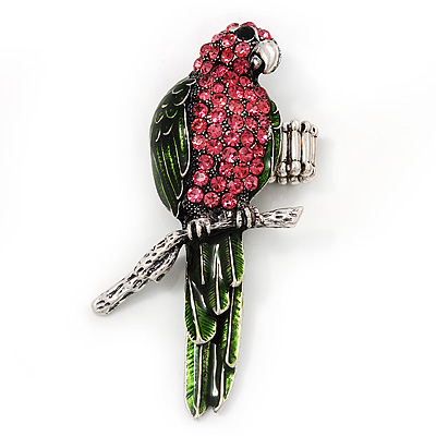 Exotic Pink/Green Crystal 'Parrot' Flex Ring In Burn Silver Metal - 7.5cm Length (Size 7/8)