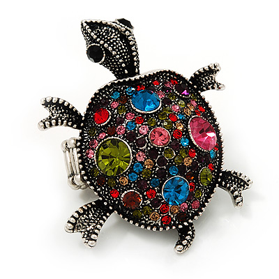 Multicoloured Crystal 'Turtle' Flex Ring In Burn Silver Metal - 5.5cm Length - (Size 7/8