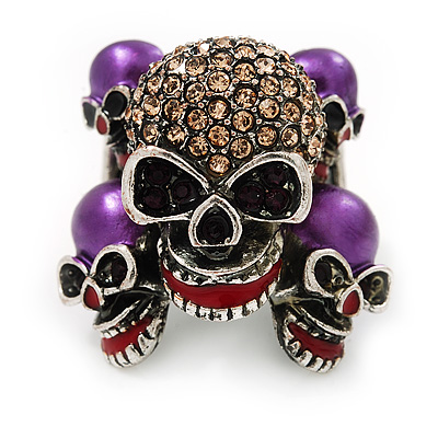 Diamante Multi Skull Flex Ring - 3cm Length (Size 7/9)