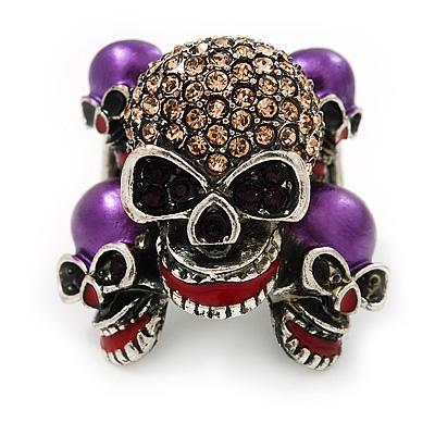 Diamante Purple Multi Skull Flex Ring - 3cm Length (Size 7/9)