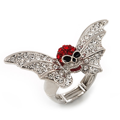 Clear/Red Diamante &#039;Skull &amp; Bat Wings&#039; Stretch Ring In Silver Tone Metal - 4.5cm Length (Size 8/9)