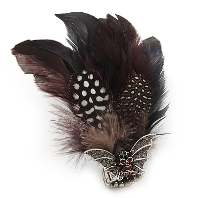 Oversized Black/White Feather &#039;Skull &amp; Wings&#039; Stretch Ring In Silver Plating - Adjustable - 14cm Length