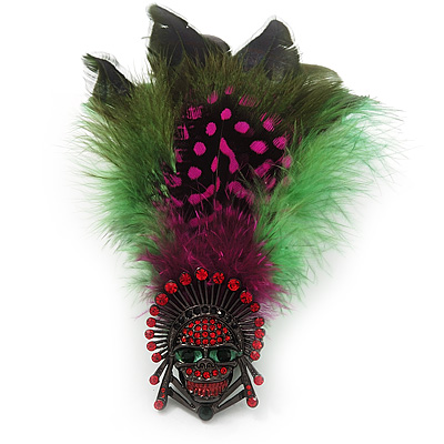 Oversized Green/Magenta/Red Feather 'Skull' Stretch Ring In Silver Plating - Adjustable - 12cm Length