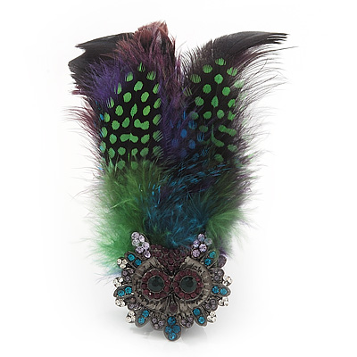 Oversized Green/Purple Feather &#039;Owl&#039; Stretch Ring In Black Metal - Adjustable - 11cm Length