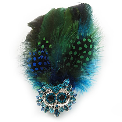 Oversized Green/Blue Feather 'Owl' Stretch Ring In Silver Plating - Adjustable - 13cm Length