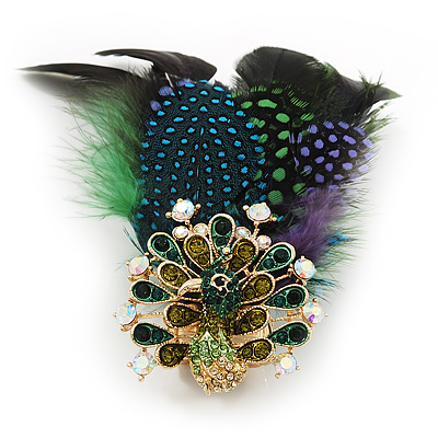Oversized Green/Purple/Blue Feather &#039;Peacock&#039; Stretch Ring In Gold Plating - Adjustable - 11cm Length