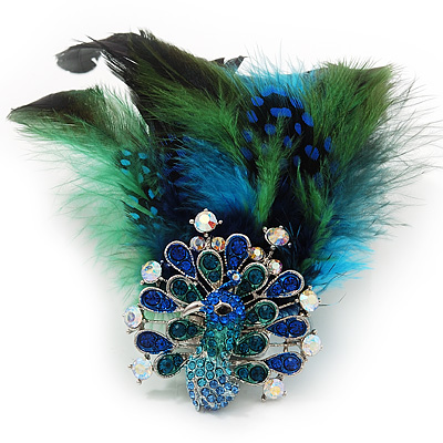 Oversized Green/Teal/Blue Feather &#039;Peacock&#039; Stretch Ring In Silver Plating - Adjustable - 15cm Length