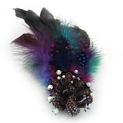 Oversized Green/Purple/Blue Feather &#039;Peacock&#039; Stretch Ring In Silver Plating - Adjustable - 15cm Length