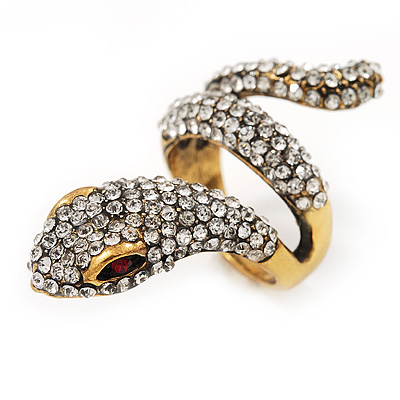 Clear Crystal 'Snake' Ring In Antique Gold Finish - 4.5cm Length
