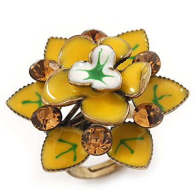 Lemon Yellow Crystal Enamel Cocktail Ring (Bronze Tone) - 3.5cm Diameter