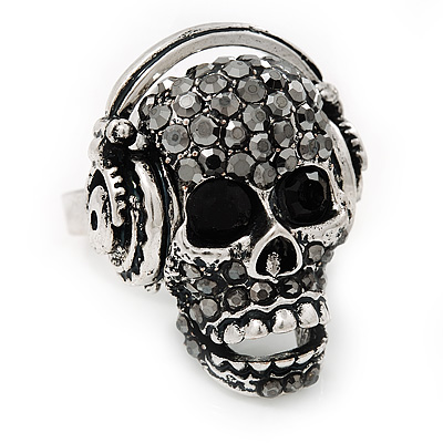 Black Crystal 'Skull Wearing Headphones' Ring In Burn Silver Metal - Adjustable - 3cm Length