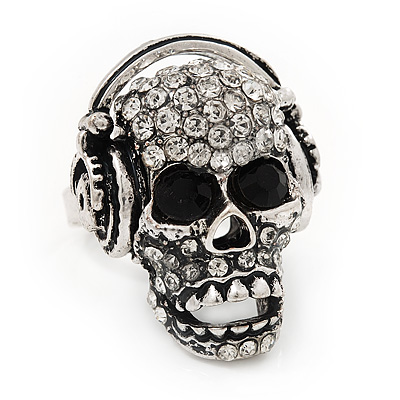 Clear Crystal 'Skull Wearing Headphones' Ring In Burn Silver Metal - Adjustable - 3cm Length