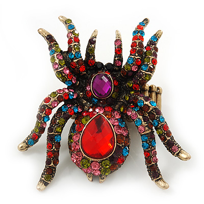 Oversized Multicoloured Swarovski Crystal Spider Stretch Cocktail Ring In Antique Gold Plating - main view