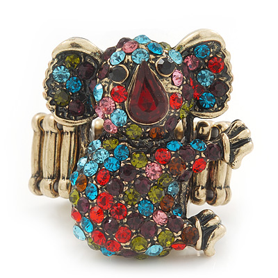Swarovski Encrusted Koala Cocktail Stretch Ring In Burn Gold Finish (Multicoloured) - Adjustable size 7/8