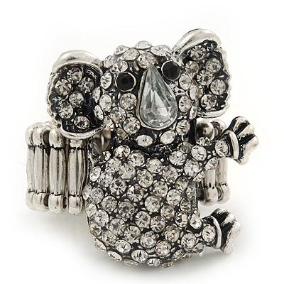 Swarovski Encrusted Koala Cocktail Stretch Ring In Burn Silver Finish(Clear) - Adjustable size7/8