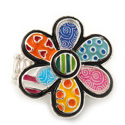 Multicoloured Enamel 'Flower Power' Stretch Ring In Rhodium Plated Metal - Adjustable