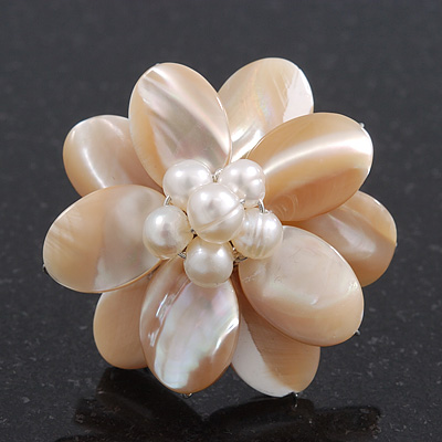 Light Ivory Mother Of Pearl/Freshwater Bead 'Flower' Ring In Silver Plating - Adjustable (Size 8/9) - 3.5cm Diameter
