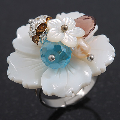 White Mother Of Pearls/Multicoloured Crystal &#039;Flower&#039; Ring In Silver Plating - Adjustable (Size 7/9) - 3cm Diameter