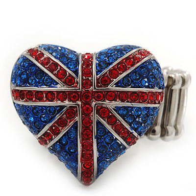 Patriotic Swarovski Crystal Union Jack &#039;Heart&#039; Stretch Ring In Rhodium Plating - Adjustable