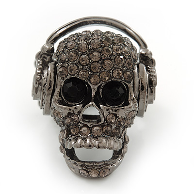 Dark Grey Crystal 'Skull Wearing Headphones' Flex Ring In Gun Metal - Adjustable - 3cm Length