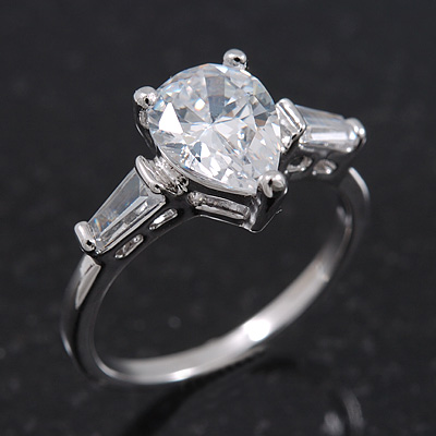 Rhodium Plated Pear Cut CZ Crystal 'Nephthys' Solitaire Ring - 10mm length