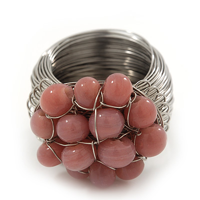 Wide Rhodium Plated Wire Ligth Pink Glass Bead Band Ring