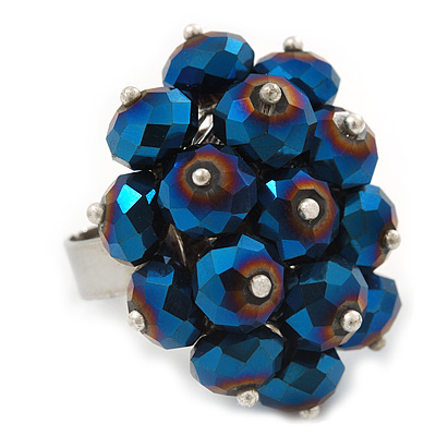 Chameleon Blue Cluster Ring In Silver Plating - Adjustable (Size 8/9)