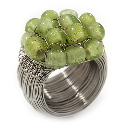 Wide Rhodium Plated Wire Light Green Glass Bead Band Ring