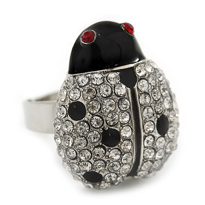 Rhodium Plated Swarovski Crystal and Enamel 'Catarina' Lady Bug Ring (Adjustable) - Size7/8