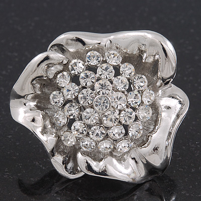 Large Swarovski Clear 'Flower' Cocktail Ring In Rhodium Plating - Adjustable (Size 7/9) - 5cm Diameter - main view