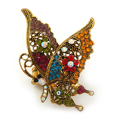 'La Mariposa' Swarovski Encrusted Butterfly Cocktail Stretch Ring In Burn Gold Finish (Multicoloured) - Adjustable size 7/8 - main view