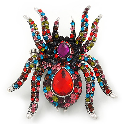 Oversized Multicoloured Crystal Spider Stretch Cocktail Ring In Sivler Plating - 6cm Length