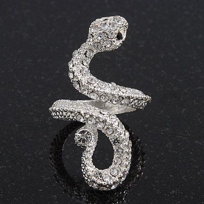 Light Silver Diamante 'Snake' Ring - Size 7