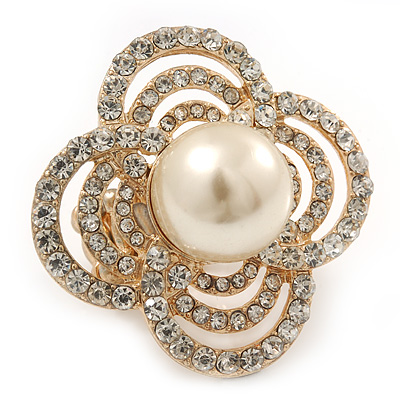 Large Prom, Four Petal Crystal, Simulated Pearl 'Flower' Stretch Ring In Gold Plating - 40mm Across - Size 6/7