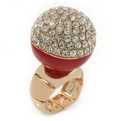 Statement Pave-Set Crystal, Red Enamel 'Ball' Flex Ring In Gold Plating - 25mm Across - Size 7/8
