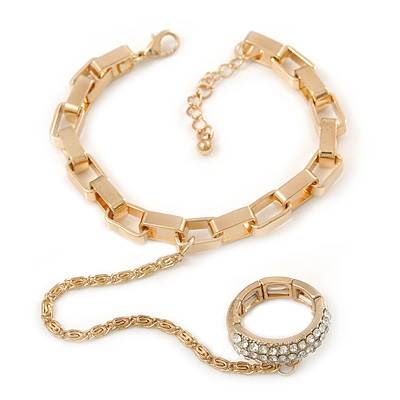 Gold Plated Chunky Chain Bracelet With Clear Swarovski Crystal Flex Band Ring Attached - 17cm Length/ 3cm Extension, Size 7/8 [R01080]