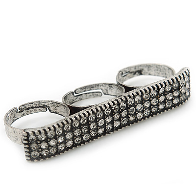 Vintage Pave-Set 'Plate' Three Finger Ring In Burn Silver Metal - Adjustable - 60mm Width