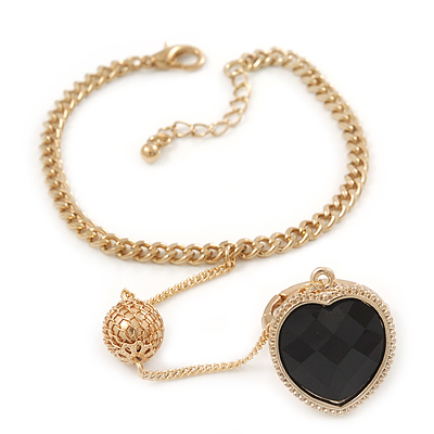 Gold Plated Oval Link Chain Bracelet With Black Acrylic Heart Flex Ring Attached - 17cm Length/ 3cm Extension, Size 7/8