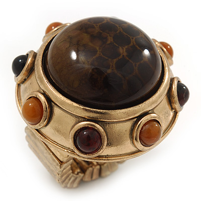 Chunky Dome Shape 'Snake Print' Resin Stone Flex Ring In Burn Gold Finish - 35mm Diameter - Size 8/9