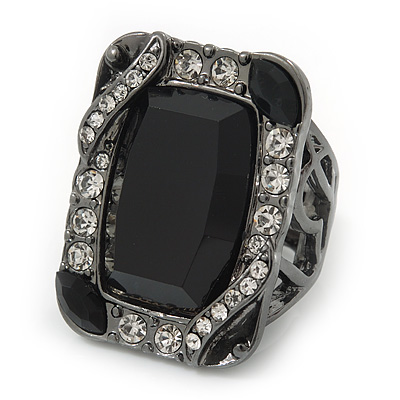 Vintage Square Black Glass Stone Flex Ring In Gun Metal Finish - 32mm Across - Size 8/9
