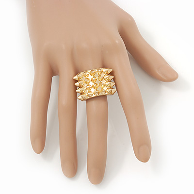 Gold Plated 'Spiky' Wide Band Stretch Ring - 18mm Width - Size 8/9 [R01106]