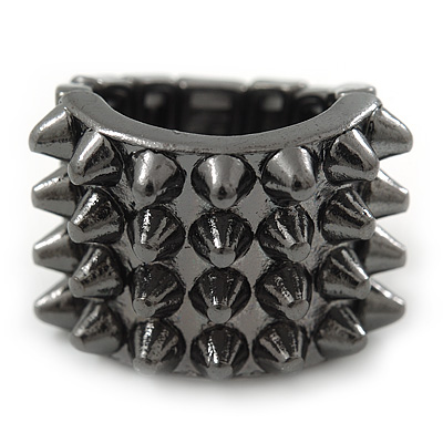 Gunmetal 'Spiky' Wide Band Stretch Ring - 18mm Width - Size 8/9