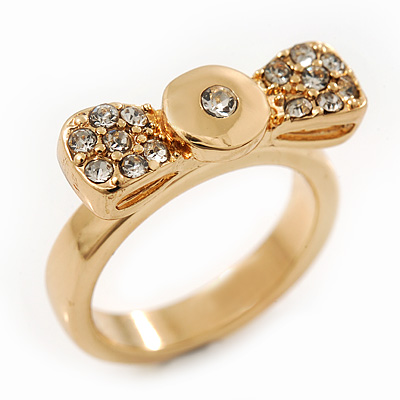 Gold Plated 'Cutie' Bow Ring - 2cm Length - Size 7
