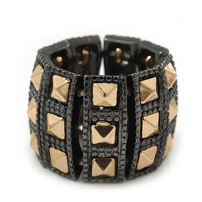 Two Tone 'Spiky' Wide Flex Band Ring (Gold/ Black Tone Metal) - 20mm Width - Size 7/8