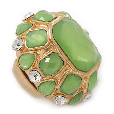 Statement Lime Green Glass Bead Dome Shaped Cocktail Flex Ring In Brushed Gold - 40mm Across - Size 7/8