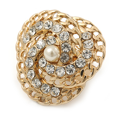 Clear Austrian Crystal Trinity Flex Ring In Gold Tone - 35mm Across - Size7/8